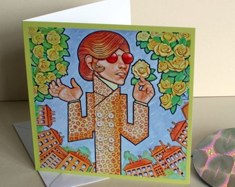 Sounds of the 60s - Flowers in the Rain. A Greetings Card.Celebration.