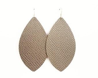 Leather earrings, teardrop earrings, statement earrings, brown earrings, grey earrings