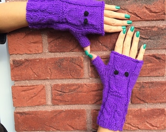 Handmade Owl Fingerless Mittens /Gloves Warm Cozy Fashion Gloves Single Copy READY TO SHIP