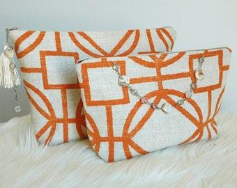 Modern makeup bag set, fashion cosmetic bag, makeup clutches, makeup clutch bag, zipper pouches, linen cosmetic pouches, travel pouch, bags
