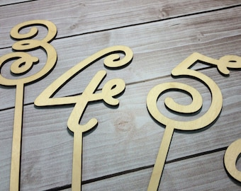 Set of 1-5 Table numbers. Wedding table numbers. Rustic table numbers. Shabby Chic Wedding table numbers. Wood table numbers