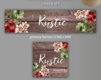 Etsy Banner + Avatar | Rustic | 2 Piece Set | Store Graphics, Avatar, Custom Listing,Etsy Shop Banner, Avatar, DIY Shop Banner,Shop Icon