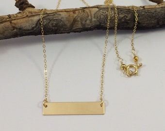 14k Gold Filled Bar on Delicate Chain