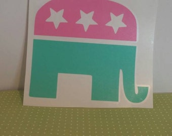 Republican Decal//Girly Republic Decal//Republican Elephant//Republican Sticker//Girl Republican