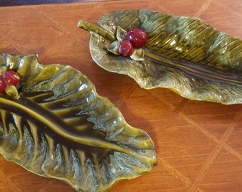 Wade of California Glazed Large Green Leaf Platter with dimensional apples. PAIR Available