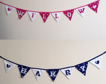 Childrens Personalised Name Bunting (Pink or Blue)