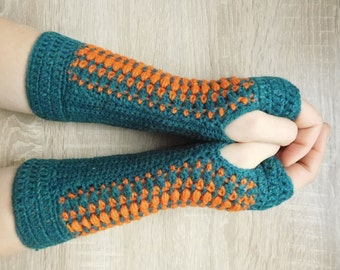 MADE TO ORDER 16096 Petroleum-orange mittens, Crochet mittens, Fingerless gloves, Fingerless mittens, Crochet fingerless gloves, Gloves