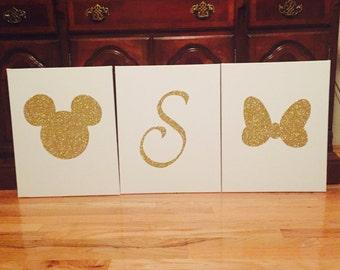 16x20 3set Mickey, Minnie, and L monogram canvas wall art.