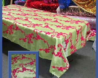 Sage / Fuchsia Ribbon Taffeta 58 X 108 Rectangle Tablecloth