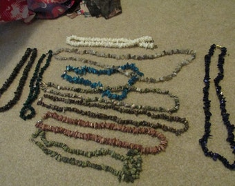 Stone chip beaded necklaces