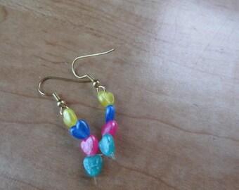 Heart beaded fishhook earrings