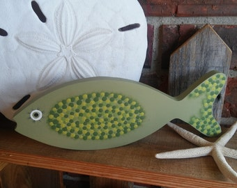 Painted Fish Shelf Sitter/wood/one of a kind