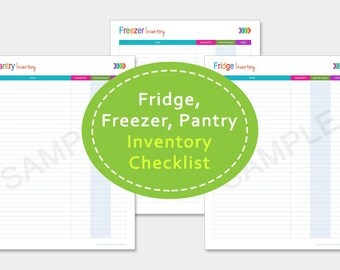 """Fridge, Freezer and Pantry Inventory, Meal Planning, Kitchen Inventory Printable, Kitchen Organizer, Meal Planner, Grocery List, 8.5""""x11"""""""