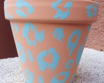 Leopard Pot//Peach and Baby Blue Pot//Hand-Painted Terracotta Pot