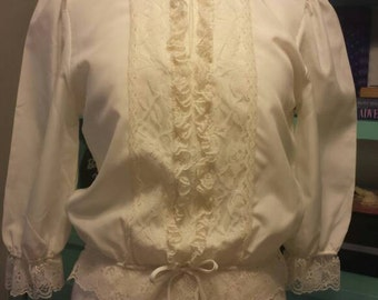 Cheri Alan Ltd Off White Lace Peasant Blouse Sm