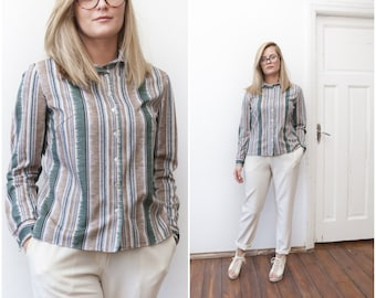 Vintage 70s Blouse Stripy Long Sleeve Blouse Striped Shirt Vertical Stripes Shirt 1970s Medium Blouse Smart Blouse Green Sand White Shirt M