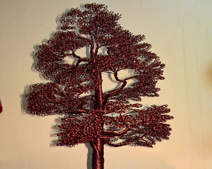 Bonsai wire tree with leaves made from copper