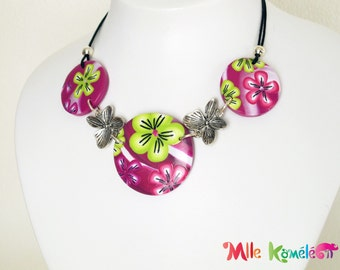 Short Necklace flowers, lime green, purple and pink