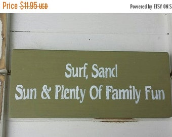 "33% OFF Surf Sand Sun Family Fun Reclaimed Coastal Art Wood Sign 5"" x 12"" Home Pool Nautical Decor Ocean Beach Sea Wall Shelf Sitter Ready T"