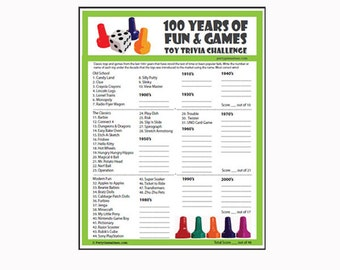 Toy Trivia Game - 100 Years of Fun & Games! Over the Hill Birthday Party Game