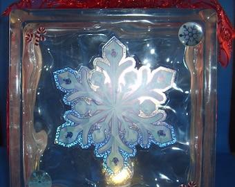 Glass Block night light ornament - Snowflake
