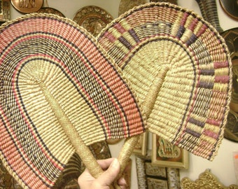 4 Hand Made Wicker Multi Colored African Fan Made In Kenya