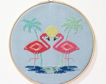 Miami Pink Flamingos Pattern - Modern counted cross stitch  - Instant Download PDF