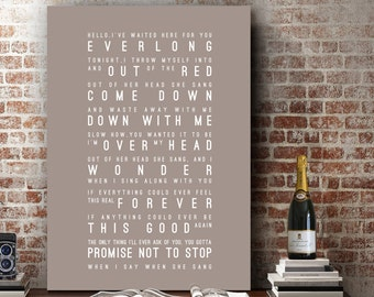 Foo Fighters Everlong Lyrics Love Song Wall Art Song Lyrics Home Decor Anniversary Wedding Gift Typography Lyric PRINT
