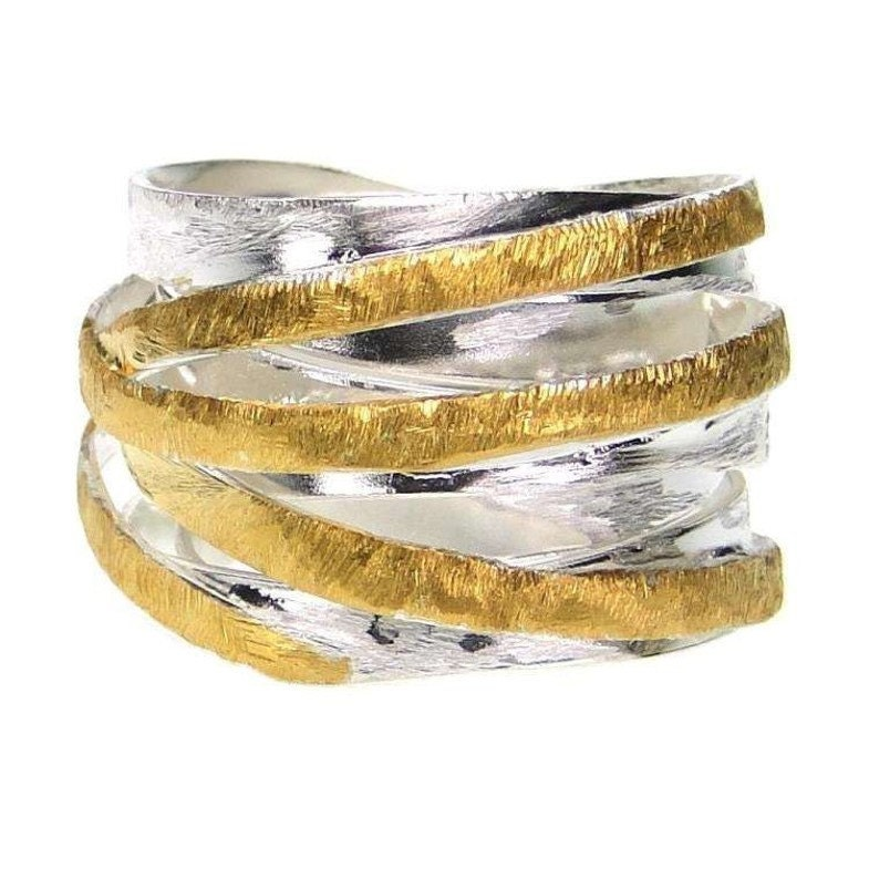 crossover ring ring gold silver ring wrap by