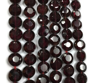 "Garnet Faceted Coin Beads, 6.5mm size , 14"" strand"