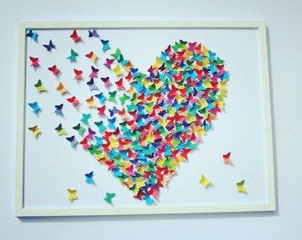 3D multicolored butterflies painting, Wall  ART, 3D paper art, Wedding decoration,   Hearts' art, Multicolor butterflies heart.