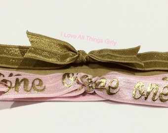 Number One Pink Headband/Gold and Pink Headbands /Gold one headbands/First Birthday Headband