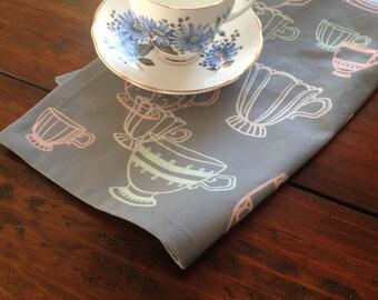 Teacup Grey, Cream, Peach and Mint Tea Towel