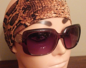 Jersey headband faux snakeskin