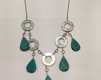 Beautiful whimsical Turquoise teardrop washer necklace
