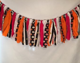 Halloween Garland/All Hallow's Eve Decor/Halloween Fabric Garland/Halloween Decorations/Pumpkin Garland/Pumpkin Decorations/Fabric Garland