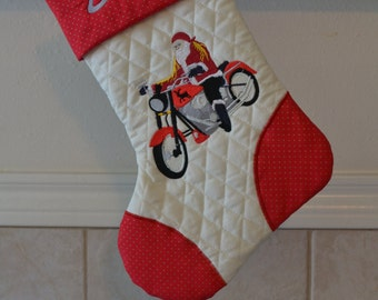 Santa on a Harley Embroidered Christmas Stocking