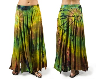 Tie-Dye Maxi Skirt - Olive Multi - 3668A