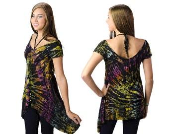 Tie Dye Drawstring Blouse - Black Multi - 1245M