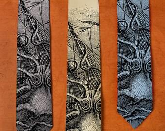 Octopus SILK Necktie - Kraken Art Tie - Silk Tie - Men's Necktie - Men's Gift - Husband Gift - Screenprint - Octopus Tie