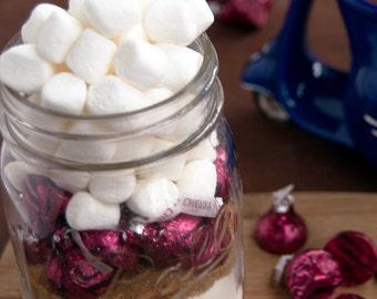 Kisses Hot Chocolate Mix in Mason Jar- Hot Cocoa, Cherry kisses hot cocoa Mix in Mason Jar- Corporate Gift