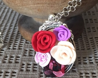 """Necklace with rose-style pendant """"cameo""""-handmade fimo long necklace-colorful roses"""