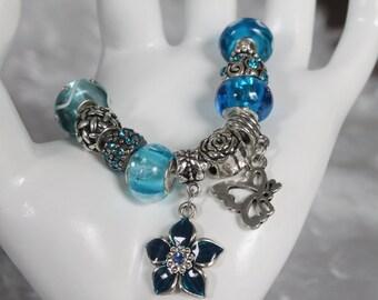 European Blue Murano Glass Bead Bracelet