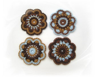 crochet flowers applique 4 large crocheted flowers, crocheted, crocheted patch, patch