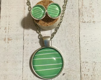 Cute Green and White Stripe Necklace and Earring Set