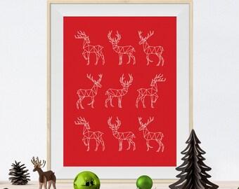 Christmas decoration - Wall poster - Christmas Print - Christmas Poster - Christmas Art - Christmas Wall Art - Reindeers print
