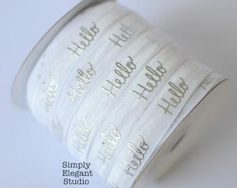 "White Hello Print Fold Over Elastic, 5/8"" Elastic, Headband and Hair Tie Supply, Elastic by the Yard"