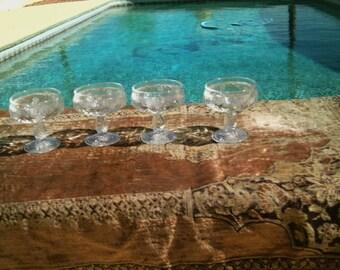 Vintage Set 4 Pressed Glass Crystal Footed Sherbet Dessert Made In France