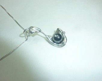 Water-cast Sterling Silver Necklace with Hematite Bead Pendant