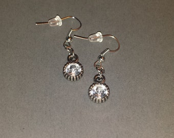 Gunmetal and gemstone dangle earrings - Free S&H!